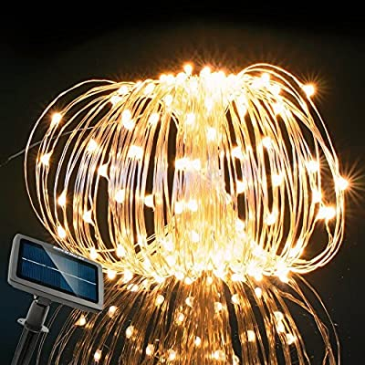 RockBirds 72Ft Lighting Chain 150 LED String Lights Copper Wire Lights, Solar Powered Waterproof Starry Fairy Lighting New Year's Christmas Decoration Flashing Lights