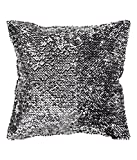 Decorative Shiny Sequins Throw Pillow Cover Luxurious Velvet Sequin Embroidered Cushion Cover (Silver)