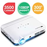 "WOWOTO H8 3500 lumens Mini Projector White LED DLP 1280x800 Real Mini Home Theater Projector WXGA Support 3D 1080P HD Android HDMI USBx2 RJ45 176""± Perfect for Entertainment Business Wireless Screen (Color: H8-White)"