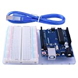 for Arduino, kuman Uno R3 Board ATmega328P + Acrylic Transparent R3 Base Plate + Terminal Optimizer Breadboardwith USB Cable Compatible with UNO R3 Mega 2560 Nano Robot Update 4 in1 Set