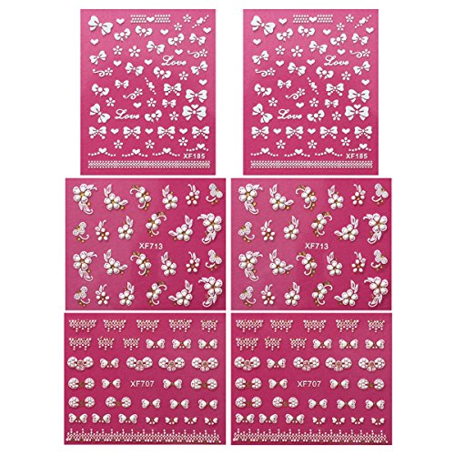 Fingernail Stickers Nail Art Nail Stickers Self-Adhesive Nail Stickers 3D Nail Decals - Bows, Hearts & Flowers (3 designs/6 sheets) (Heart Fingernail Polish compare prices)