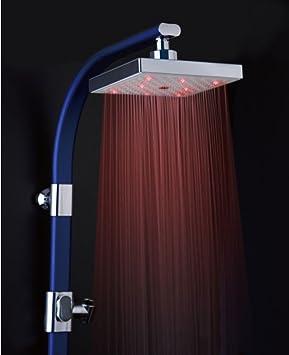 aubig led duschkopf mit farbwechsel led beleuchtung xxl quadratische led brausekopf. Black Bedroom Furniture Sets. Home Design Ideas