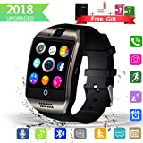 Bluetooth Smart Watch with Camera Touchscreen,Waterproof Smartwatch Unlocked Phone Watchs with SIM Card Slot, Smart Wrist Watch Compatible with Android iPhone X 8 7 6 5 Plus iOS Samsung (Color: Q18-Black, Tamaño: (2.4 x 1.6 x 0.5)inch smart watch)