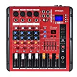 ammoon Digital Bluetooth 4-Channel Mic Line Audio Mixer Mixing Console 2-band EQ with 48V Phantom Power USB Interface for Recording DJ Stage Karaoke Music Appreciation (Tamaño: 4 Channels)