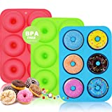 WALFOS 3 Pack Food Grade Silicone Donut Pan Molds,Non-Stick Safe Baking Pans for Perfect Shaped Doughnuts-Cake Biscuit Bagels -BPA Free,Dishwasher, Oven, Microwave, Freezer Safe (Color: Red, Blue, Green)