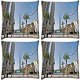 Snoogg Trees On The Street Pack Of 4 Digitally Printed Cushion Cover Pillows 18 X 18 Inch