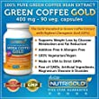 100% Pure Green Coffee Bean Extract, 400 mg, 90 Veg. Capsules (The GOLD Standard Green Coffee Extract, Guaranteed 50% Chlorogenic Acid) 800mg per Serving