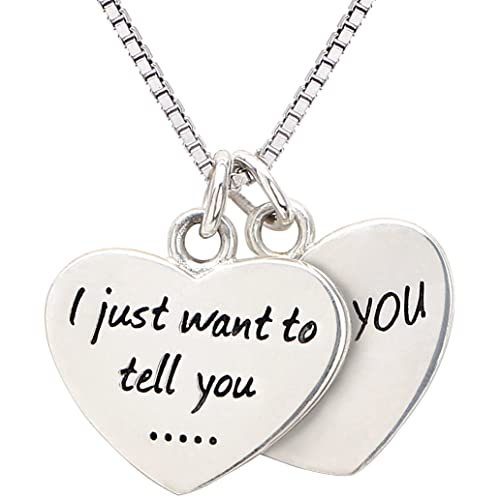 "Mothers Day Gift Double Hearts Necklace ""I just want to tell you … I love you"" Best Gift For Mom Mum For Mother's day, Birthday and Christmas Gift ALOV Sterling Silver Jewelry Two Pieces Hearts Necklace"