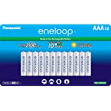 Panasonic BK-4MCCA12FA eneloop AAA 2100 Cycle Ni-MH Pre-Charged Rechargeable Batteries, 12 Pack