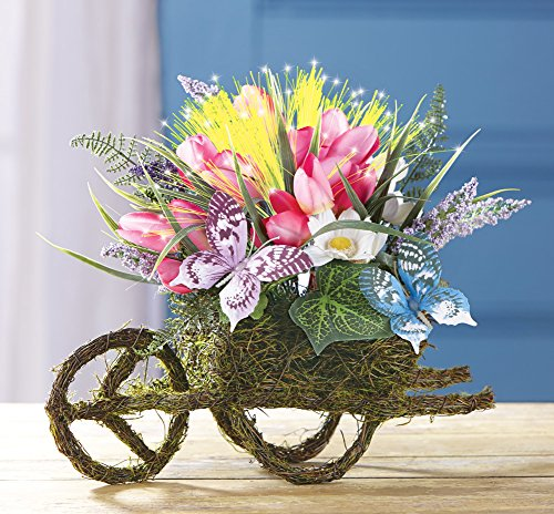 Fiber Optic Floral Wheelbarrow Centerpiece