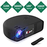 BNEST Video Projector, 3200 Lumen Native 720P Home Theater Video Projector, 50000 Hours Lamp Life, Support 1080P with 180