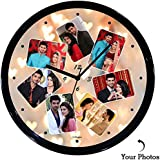 Huppme™ Personalized Seven Photo Art Round Wall Clock Fully Covered With Glossy Plastic And Glass In Front, Gifts For Him, Gifts For Her, Gifts For Couple, Wedding Gifts, Marriage Gifts