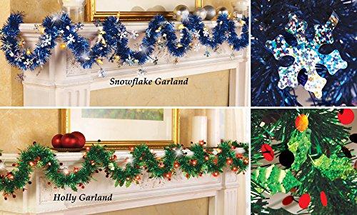 9 Foot Lighted Tinsel Garland Snowflake