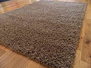 EXTRA LARGE STYLISH SUEDE BISCUIT MOCHA MEDIUM NEW MODERN SOFT TOUCH THICK SHAGGY RUGS NON SHED RUNNER MATS 160 X 225 CM FREE UK MAINLAND DELIVERY       reviews and more information