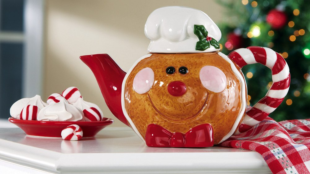 Smiling Gingerbread Collectible Holiday Tea Pot