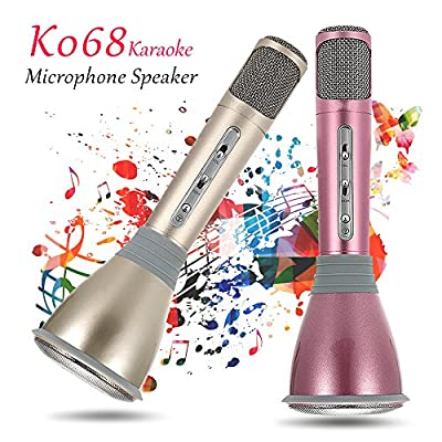 Tdvsor K068 Microphone,Mini Karaoke Player Wireless Condenser Microphone with Mic Speaker KTV Singing Record for All Smart Phones Computer