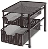 SimpleHouseware Stackable 2 Tier Sliding Basket Organizer Drawer, Bronze