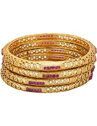 Adwitiya 24k Gold Plated Ruby Stones Studded Traditional Antique Bangle Set For Womens