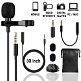 Lapel Microphone (Unique Fuzzy Windscreen Included) Omnidirectional Noise Cancelling Clip-on Speaker Mic for iPhone iPad Mac Android Smartphones Interview Video Recording (Single) (Color: Black, Tamaño: Single)