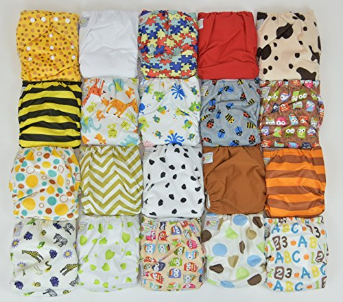 20 Pack Pocket Cloth Diapers with 40 Inserts (2 Inserts Per Diaper)-unisex Pack