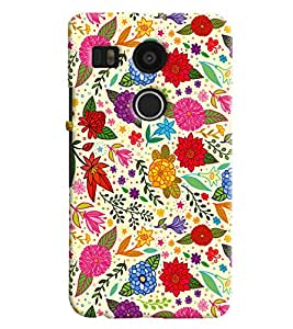 Blue Throat Leaves And Flower Pattern Printed Designer Back Cover For LG Google Nexus 5x