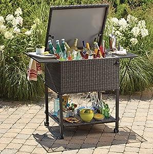 Wicker Cooler Cart Outdoor Serving Cart With