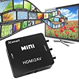 3Csmart Mini 1080P HDMI to AV 3RCA CVBs Composite Video Audio Converter Adapter Support PAL/NTSC for PC Laptop TV Xbox PS3 PS4 VHS VCR Camera DVD-Black