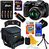 Nikon COOLPIX L340 20.2 MP Digital Camera with 28x Zoom NIKKOR Lens & Full HD 720p Video Recording – Black – International Version (No Warranty) + 4 AA Batteries with Charger + 8pc Bundle 16GB Accessory Kit w/ HeroFiber Ultra Gentle Cleaning Cloth