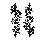 2pcs Black Flowers Iron On Patches Garment Applique Embroidery DIY Accessory Cheongsam Skirt Clothes 26X10cm (Black B) (Color: Black B)