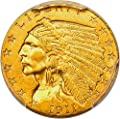 1911 D $2.50 Indian Gold Two and a half Dollar MS62 PCGS\CAC
