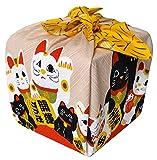 Small Furoshiki Japanese Wrapping Cloth Shantung Chief Manekineko Gold Flower 50x50cm from Japan
