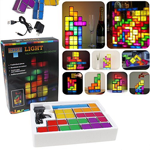 Led Tetris Light Constructible Desk Light Three-Dimensional Puzzle Squares Light Diy Toy