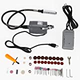 55pc Electric Flexible Shaft Die Carving Grinder Rotary Tool Variable Speed Foot Pedal Kit (USA Stock)