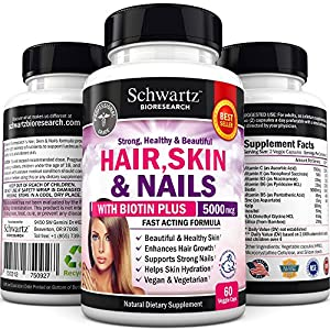 Hair Skin and Nails Vitamin Complex with Biotin 5000 mcg :: Promotes Hair Growth, Glowing Skin, Strong Nails. Natural, Vegan and Vegetarian Anti-aging Skin Care. Made In USA