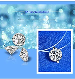 QTMY Transparent Clear Invisible Chain Crystal String Cord Rhinestone Zircon Pendant Necklace (Color: White, Tamaño: 6mm)