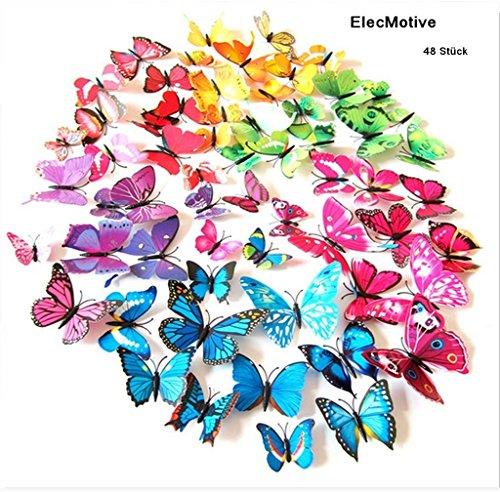 ElecMotive® 48 tlg 3D Wandtattoo Wand Aufkleber Schmetterlinge im 3D-Style Wanddekoration mit...