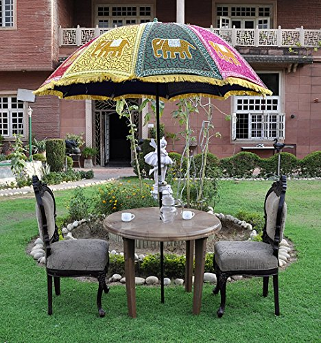 Indian Handmade Garden Umbrella Parasol Large 133 X 183 Cm