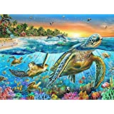 DIY 5D Diamond Painting Kit, Full Diamond Turtle Embroidery Rhinestone Cross Stitch Arts Craft Supply for Home Wall Decor