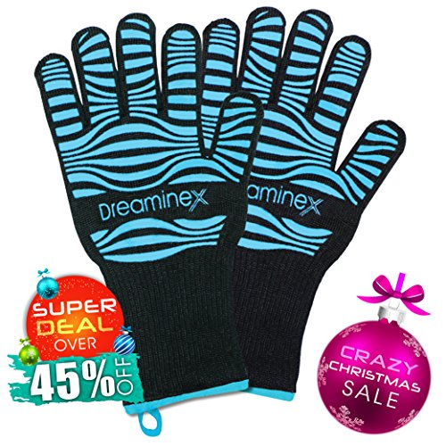 Christmas Sale: Over 45% Off - Heat Resistant Gloves. Extra Long. Certified: up to 932F. Aramid Fiber & Silicone Covering - Protecting Your Hands in Kitchen, Barbecue, Oven, Baking, Cooking & Grill (Extra Small Oven Gloves compare prices)