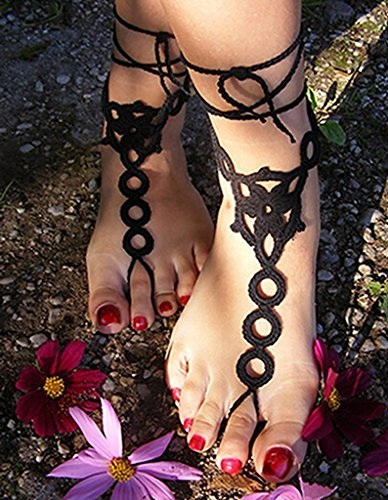 Alvak Crochet Barefoot Sandals,Beach Pool,Nude Shoes,Foot Jewelry Black(HGH19)