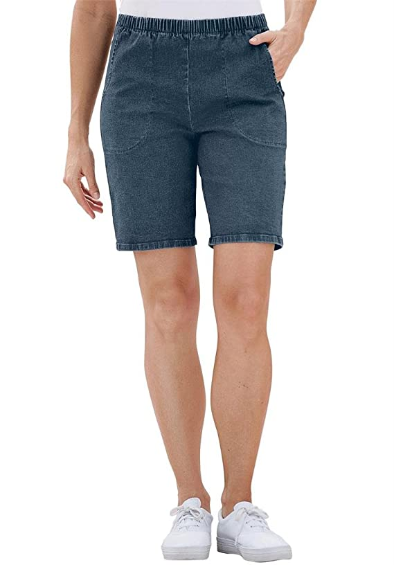 Women's Plus Size Jean Shorts Stretch Denim Or Twill Relaxed Fit