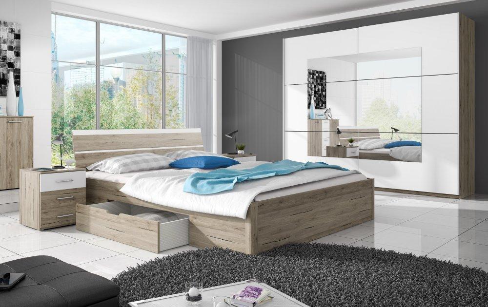 Schlafzimmer, 3-tlg. Komplettset, Eiche Sanremo/Absetzungen in weiss bestellen
