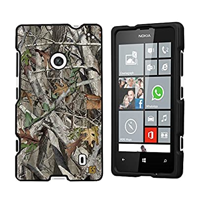 Premium Protection Slim Light Weight 2 piece Snap On Non-Slip Matte Hard Shell Rubber Coated Rubberized Phone Case Cover With Design For Nokia Lumia 520 - Autumn Camouflage - Black - Retail Packaging from Beyondcell
