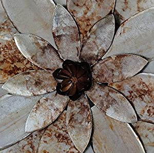 Silver & Bronze Metal 'Chrysanthemum' Wall Art - Large