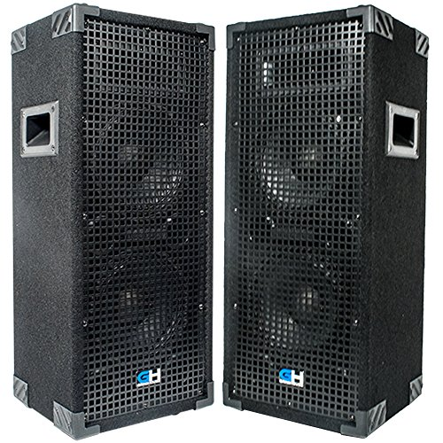 1800w Pair of Dual 8 Inch Passive Full Range PA Speaker Home DJ Karaoke Church Portable Indoor Outdoor Pro Audio Live Sound Reinforcement