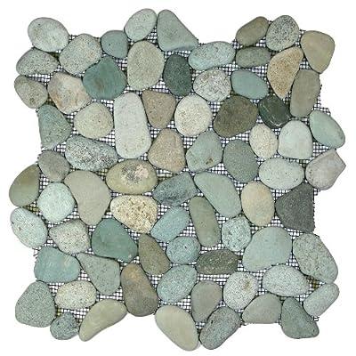 Sea Green Pebble Tile 1 sq.ft. (Mesh Mounted) by CNK Shops LLC