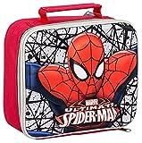 SPIDERMAN BOYS KID SCHOOL NURSERY 3D INSULATED LUNCH SANDWICH BAG BOX SILVER RED