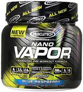 MuscleTech naNO Vapor Perforamance Series, Blue Raspberry, 1.15lb., Pre-Workout Powder with Citrulline Mallate