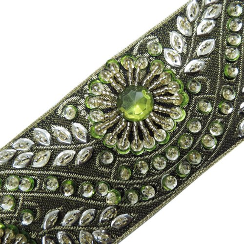 1 Yd Decorated Green Base Ribbon Trim Craft Beaded Sequins Lace