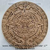 "HISTORY MAYAN AZTEC CALENDAR SUN SCULPTURAL WALL RELIEF 17"" Hand Made in USA by www.NEO-MFG.com"